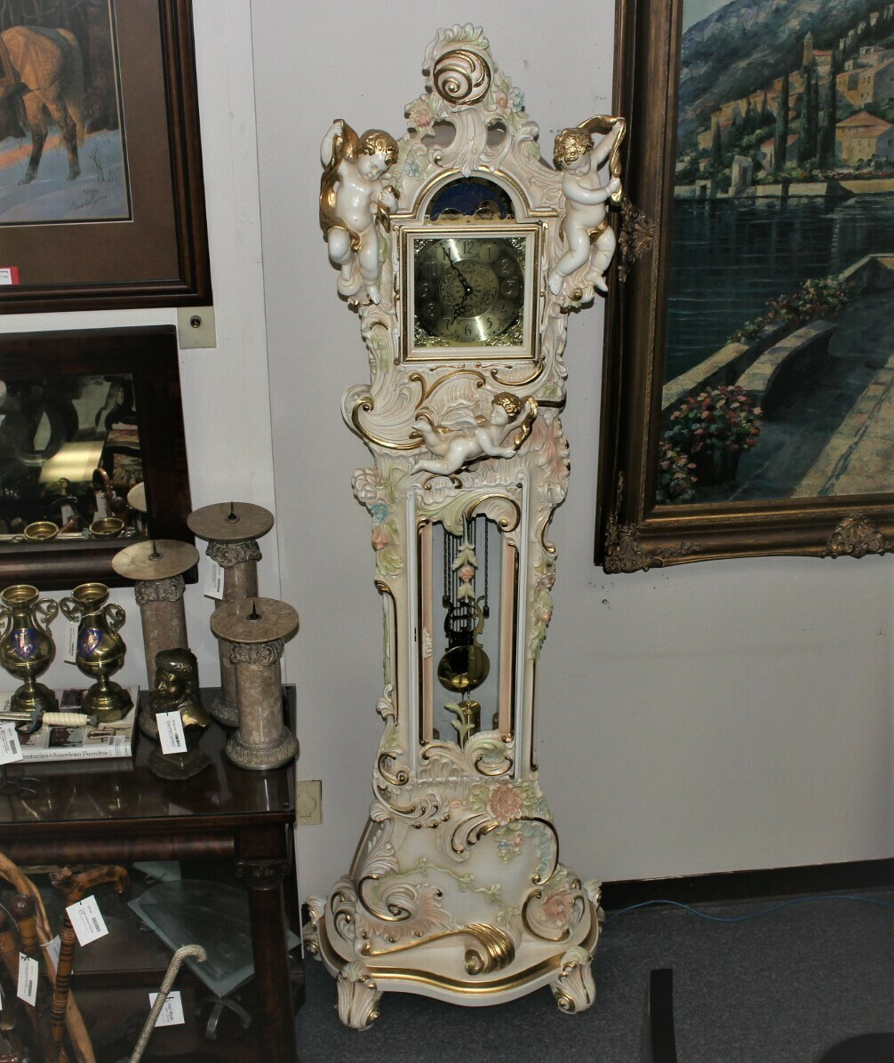 Altobel Antonio Italian Hand Carved Limewood Venetian Rococo Grandfather Clock