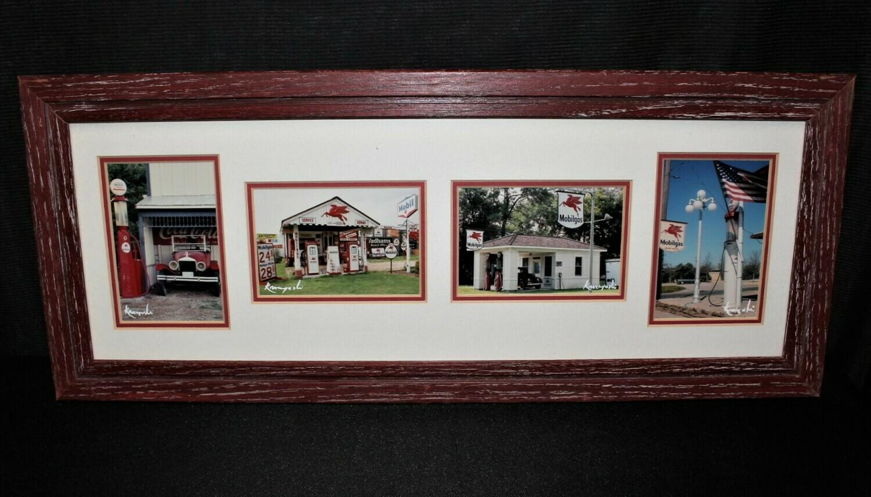 Korczynski Vintage Mobil Gas Station Matted Photographs Framed Collage Wall Art
