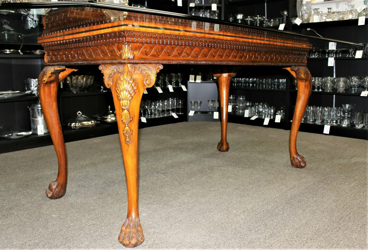 ​Mahogany Chippendale Carved Hairy Paw Feet Beveled Glass Top​ Dining Table