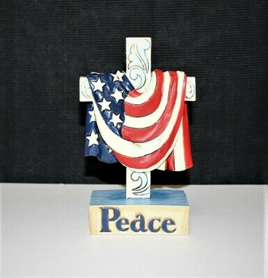 2014 Jim Shore Peace In God We Trust Flag Draped over Cross Figurine #4040791