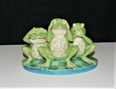 Jim Shore 2014 See No, Hear No, Croak No Evil Frogs on Lily Pad Figurine 4047051