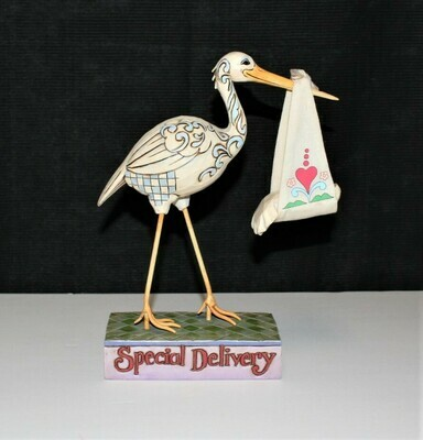 Jim Shore 2007 A Bundle of Joy Special Delivery Stork & Baby Figurine #4009211