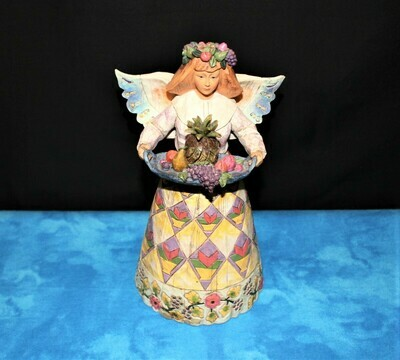 Jim Shore 2002 Angel of Generosity w/Fruit Tray 9.5