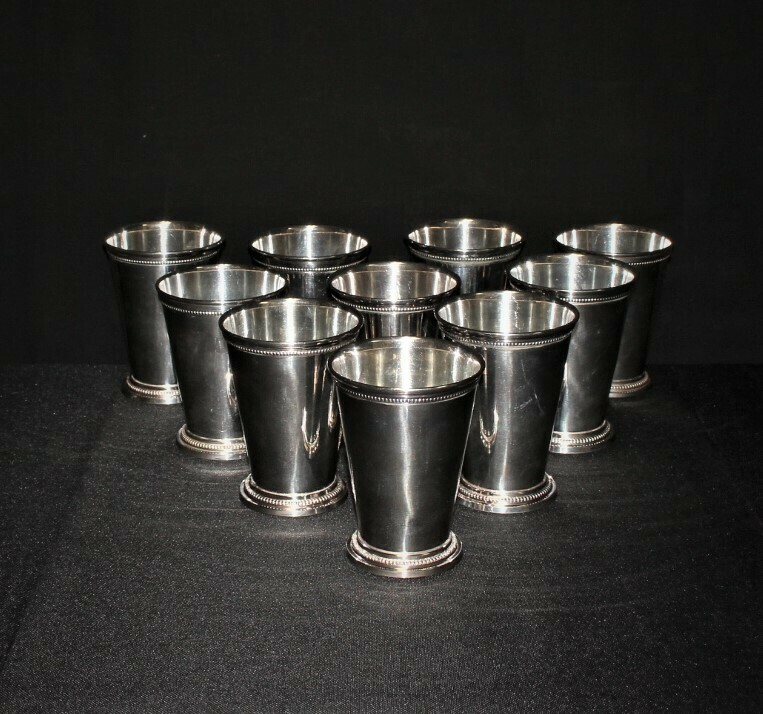 Set of 10 Two's Company McKenzie Silverplate Mint Julep Cups