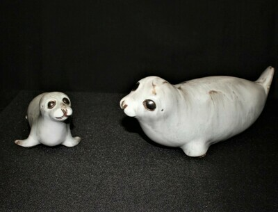 Andersen Design Mom & Baby Sea Lion Seals Art Studio Pottery Sculpture Figurines