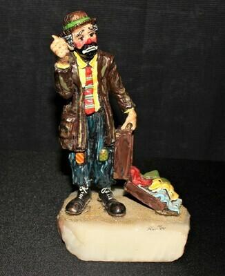 Ron Lee 1984 Knickers Emmett Kelly Hitchhiking Clown Sculpture Figurine #415
