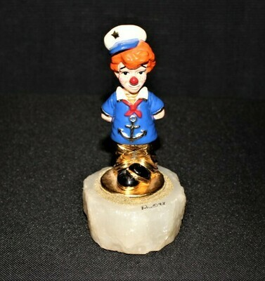 Ron Lee 1993 Lit'l Mate Navy Sailor Clown Sculpture Figurine CCG7, Signed