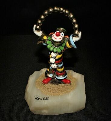 Ron Lee 1986 Clown Juggling Gold Balls Sculpture Figurine, Signed