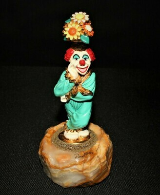 Ron Lee 1991 POTSIE Flower Hat Clown Sculpture Figurine #CCG4, Signed