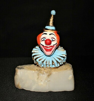 Ron Lee Circus Party Clown Head Bust Sculpture Figurine, Signed
