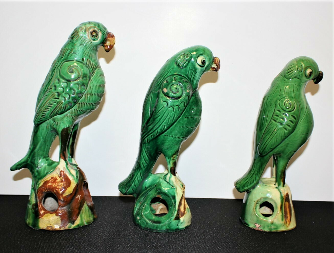 Set of 3 Chinese Green Parrot Sancai Roof Tile Glazed Pottery Figures