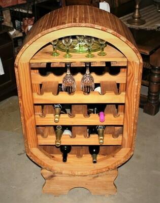 Solid Oak Freestanding Vintage Barrel Shape 21 Bottle Wine Holder Bar Display