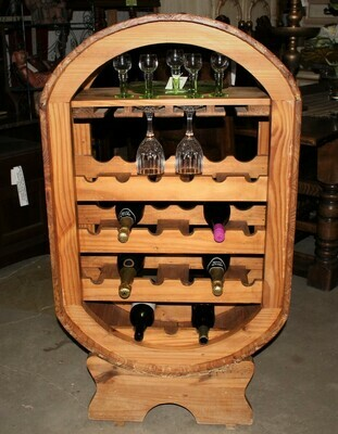 Vintage Solid Oak Freestanding Barrel Shape 21 Bottle Wine Holder Bar Display