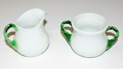 Fenton Emerald Crest Milk Glass Green Crimped Handle Creamer and Sugar Bowl Set