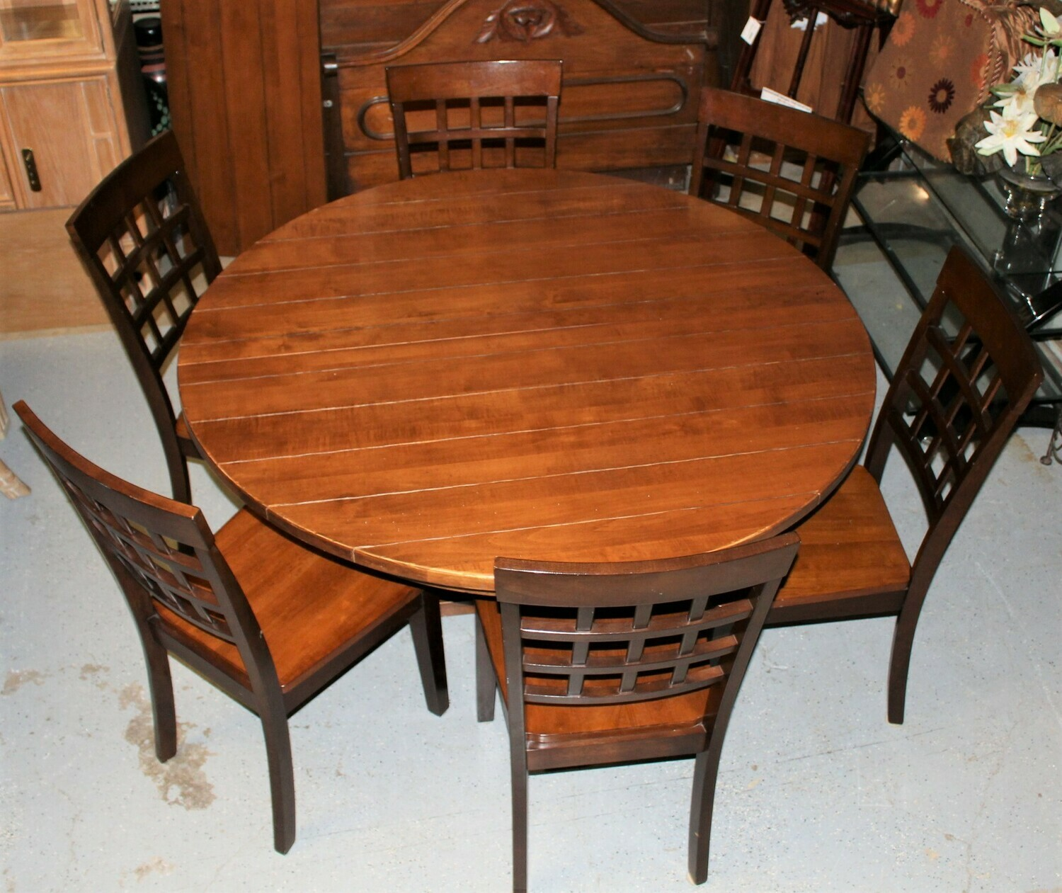 """Canadel Mahogany 54"""" to 74"""" Pedestal Dining Farmhouse Table w/ Leaf and 6 Chairs"""