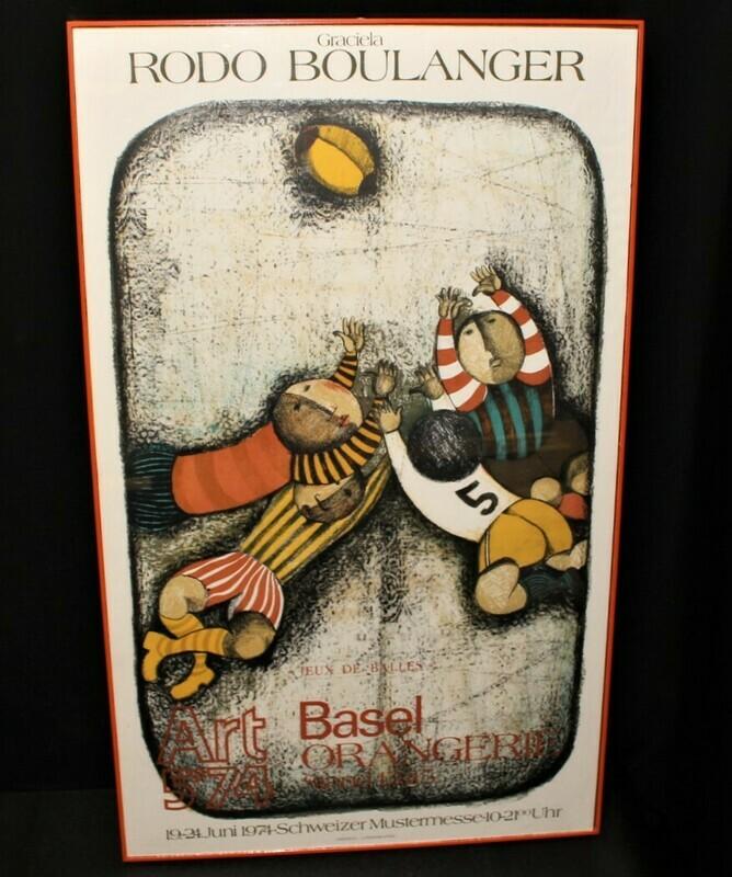 1974 Graciela Rodo Boulanger Football Exhibition Original Lithograph Framed Art