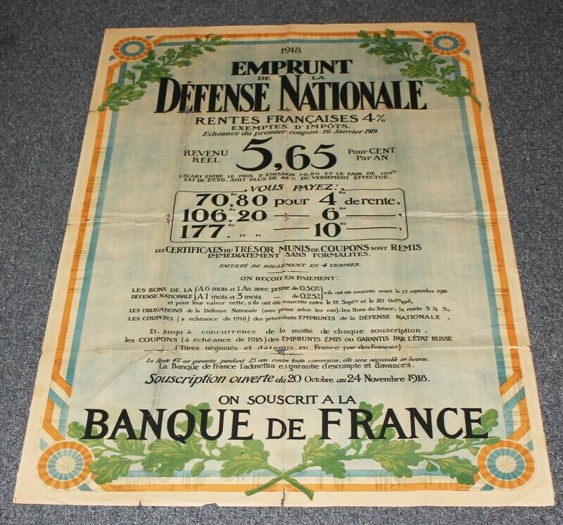 1918 French WWI Original Emprunt De La Defense National War Loan Poster - RARE!