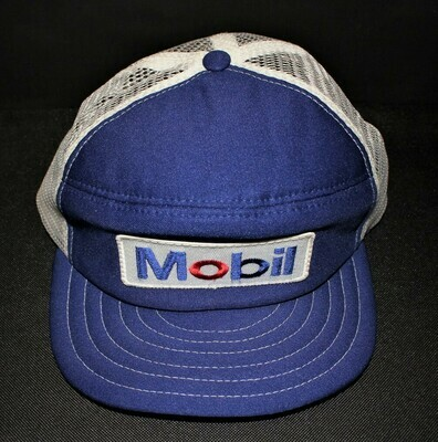1980's Mobil Patch Logo Mesh Trucker Hat / Cap with Snap-Back Closure