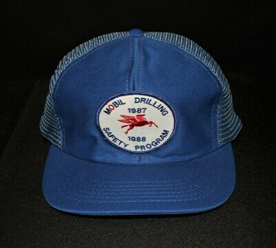 Vintage Mobil Drilling Pegasus Safety Patch Mesh Trucker Hat / Cap, Snap-Back