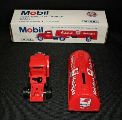 ERTL Mobilgas 1937 Tanker Truck Red Die-Cast Bank w/ Key and Box