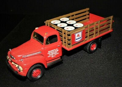 First Gear 1951 Ford Replica Mobiloil Magnolia Petroleum No.2 Red Die-cast Truck