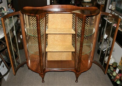 1930'S BARGET Walnut Art Deco Bow Glass Front Curio China Display Cabinet w/ Key