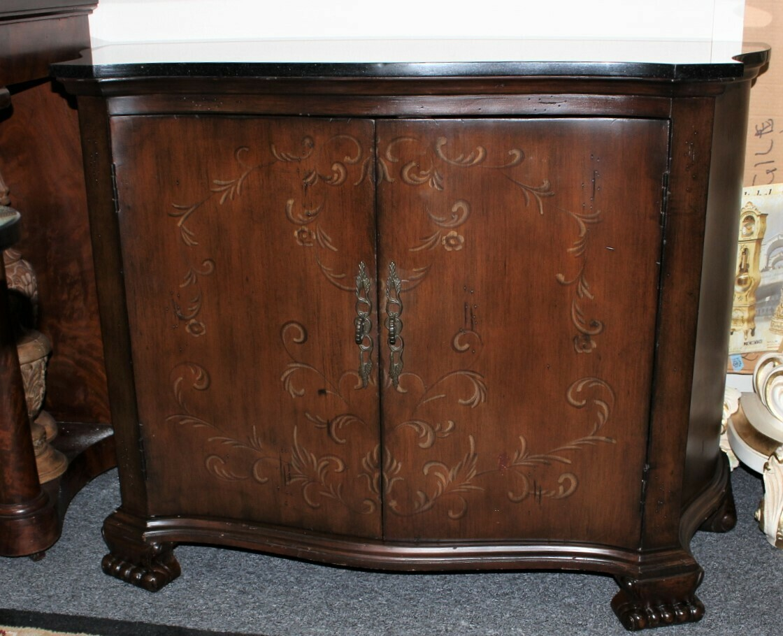 Mahogany Hand Painted 2-Door Granite Top Accent Cabinet with Claw Feet