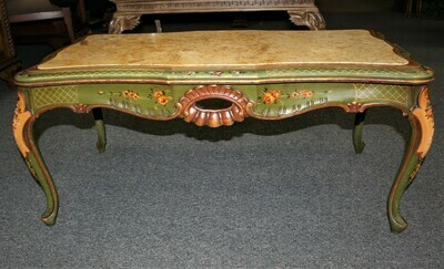 Vintage Shabby Italian Chic Hand Painted Green Floral Marble Top Coffee Table