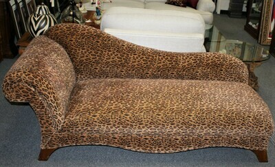 Custom Leopard Print Upholstered Chaise Lounge Sofa Recamier