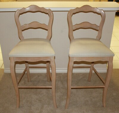 Pair of Stanley Furniture Upholstered Seat Bar Stools