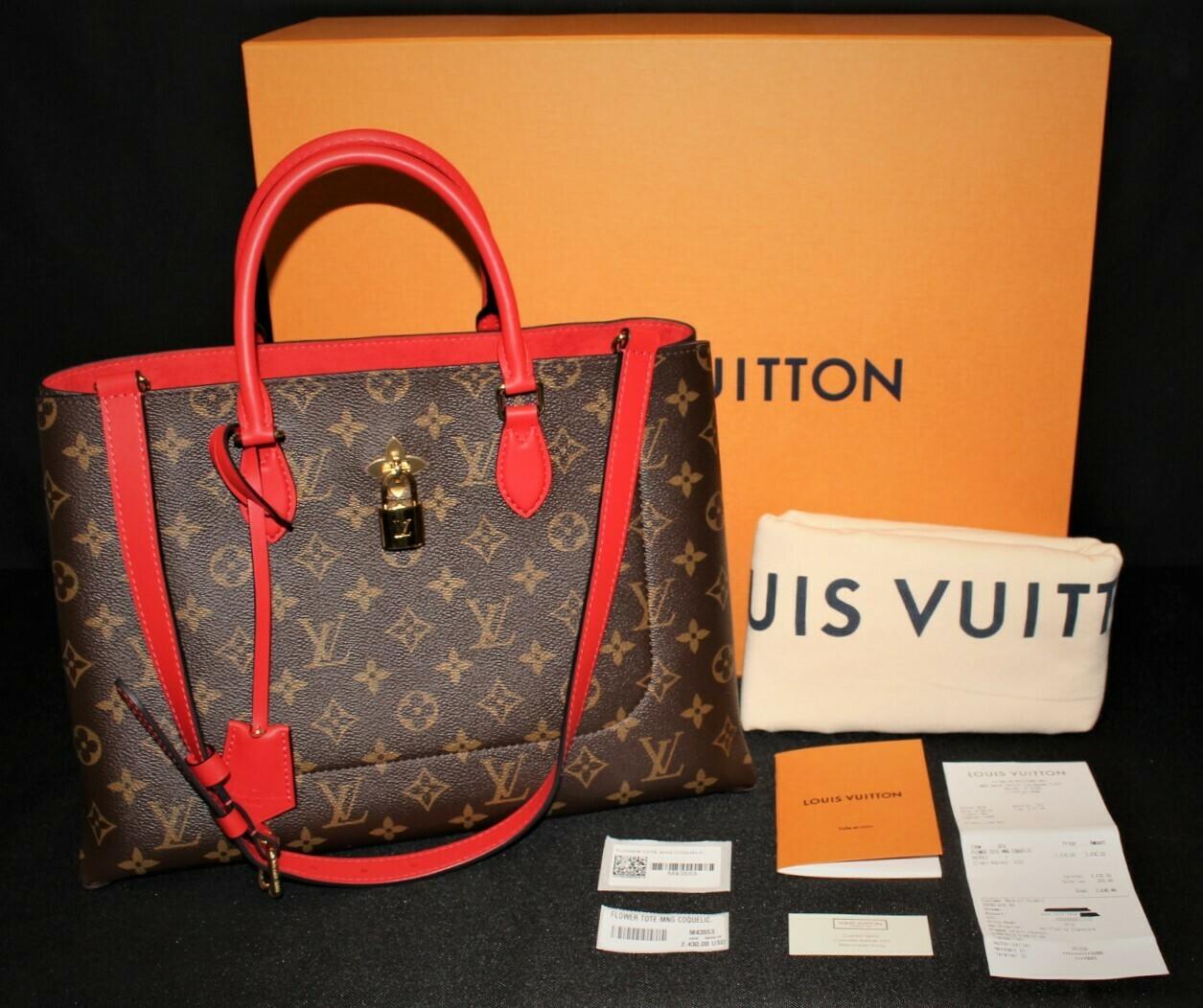 Louis Vuitton Flower Tote Monogram Canvas Red Trim M43553 Handbag 100% AUTHENTIC