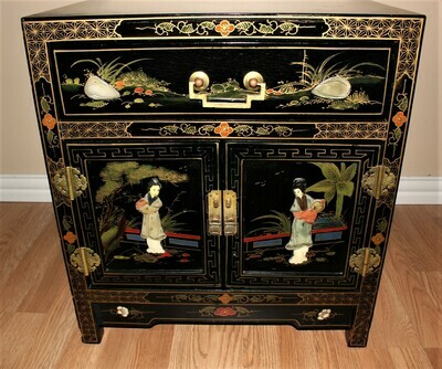 Vintage Asian Lacquer Mother of Pearl Inlay Side Table Cabinet with Drawer