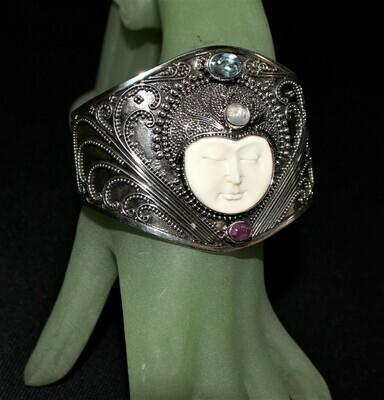 Bali Goddess Carved Bone Face Multi Gemstone 925 Sterling Silver Cuff Bracelet