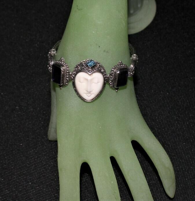 Bali Goddess Carved Bone Face Multi Gemstone 925 Sterling Silver Toggle Bracelet