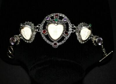 Bali Goddess 3 Carved Bone Face Multi Gemstone 925 Sterling Silver Toggle Bracelet