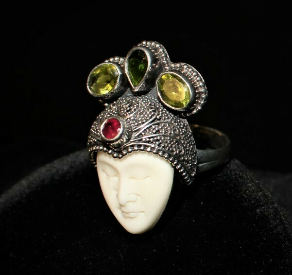 Bali Goddess Carved Bone, Garnet, Peridot Gemstones 925 Sterling Silver Ring