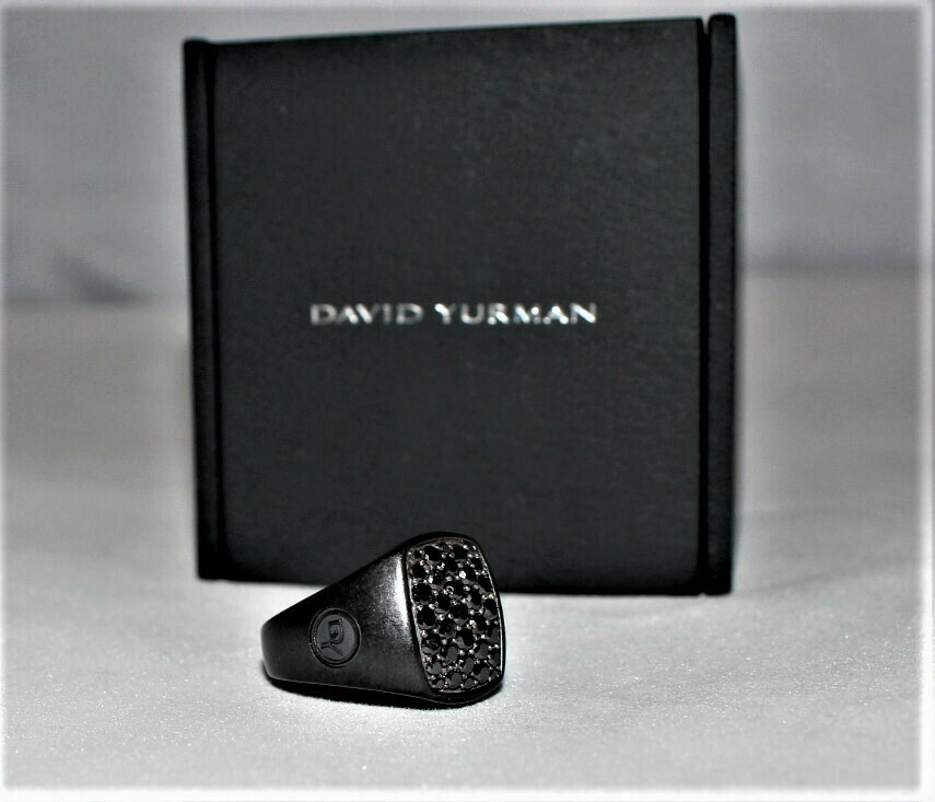 David Yurman Titanium Sterling Silver Pave Black Diamond Signet Ring,  Size 6