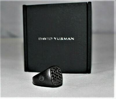 David Yurman Titanium Sterling Silver Pave Black Diamond Signet Ring,  Size 6