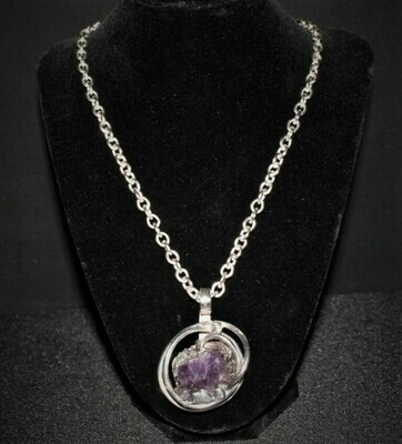"1960's Anette Borke Modernist Raw Amethyst Pendant Necklace on 24"" Link Chain"