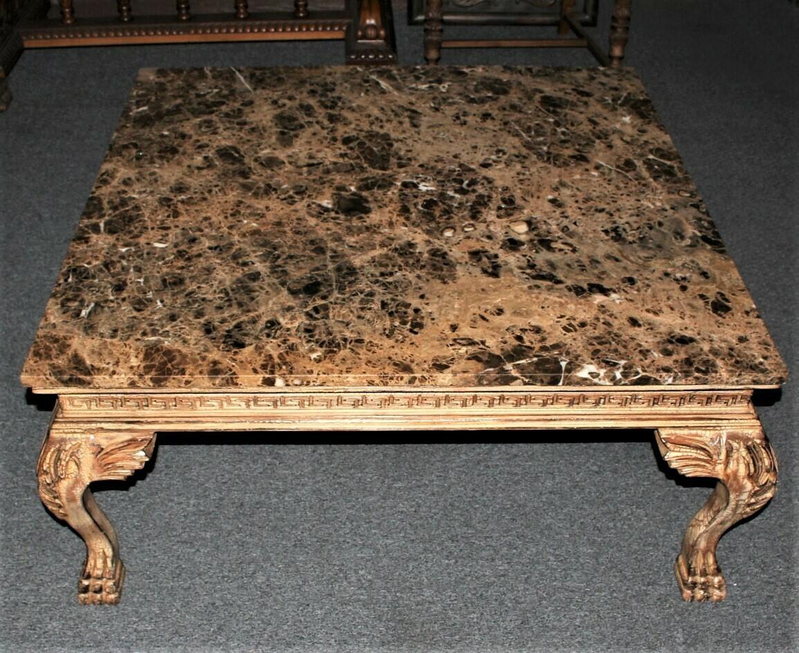 Stewart Allen Custom Carved Wood Square Marble Top Coffee Table