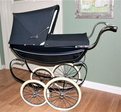 Vintage Silver Cross Oberon Luxury Navy Coach Baby Doll Pram Stroller