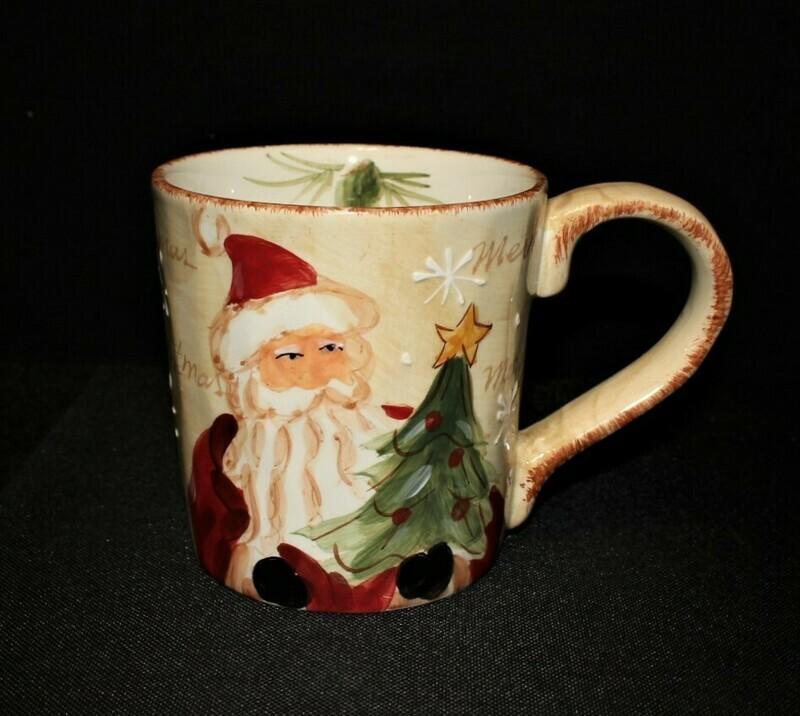 Maxcera Woodland Santa Large 20-Ounce Hand Painted Ceramic Christmas Mug