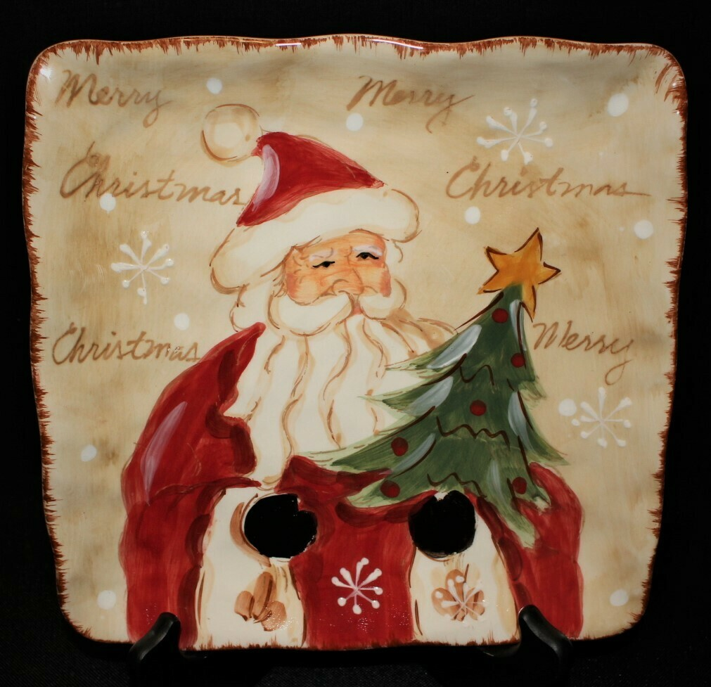 "Maxcera Woodland Santa Hand Painted 9"" Square Ceramic Christmas Plate"