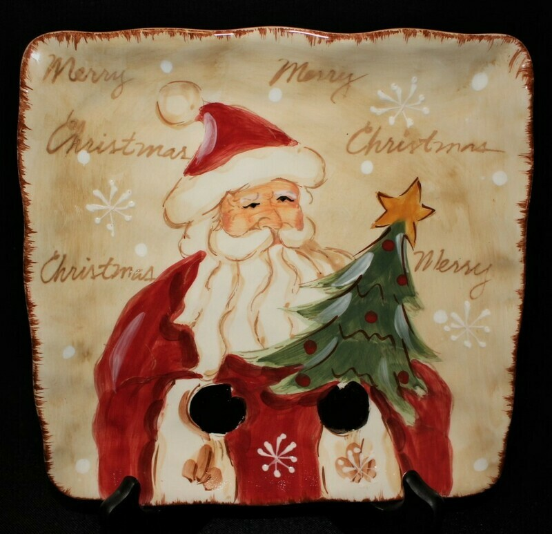 "Maxcera Woodland Santa Hand Painted 9"" Square Ceramic Christmas Plate"