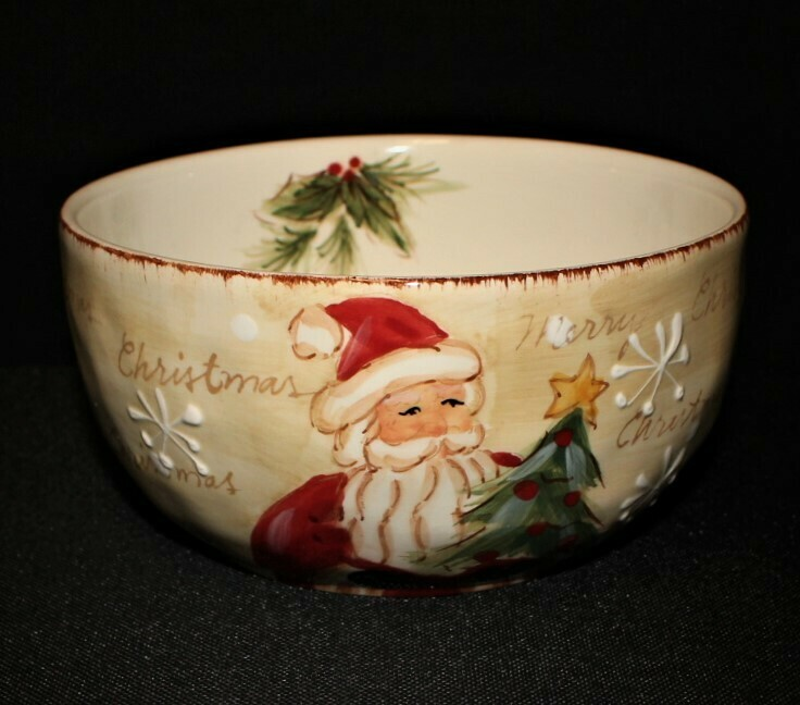 Maxcera Woodland Santa Hand Painted Soup Cereal Candy Ceramic Christmas Bowl
