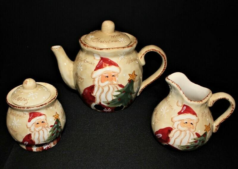 Maxcera Woodland Santa Hand Painted Christmas 5-Pc Teapot, Creamer and Sugar Set