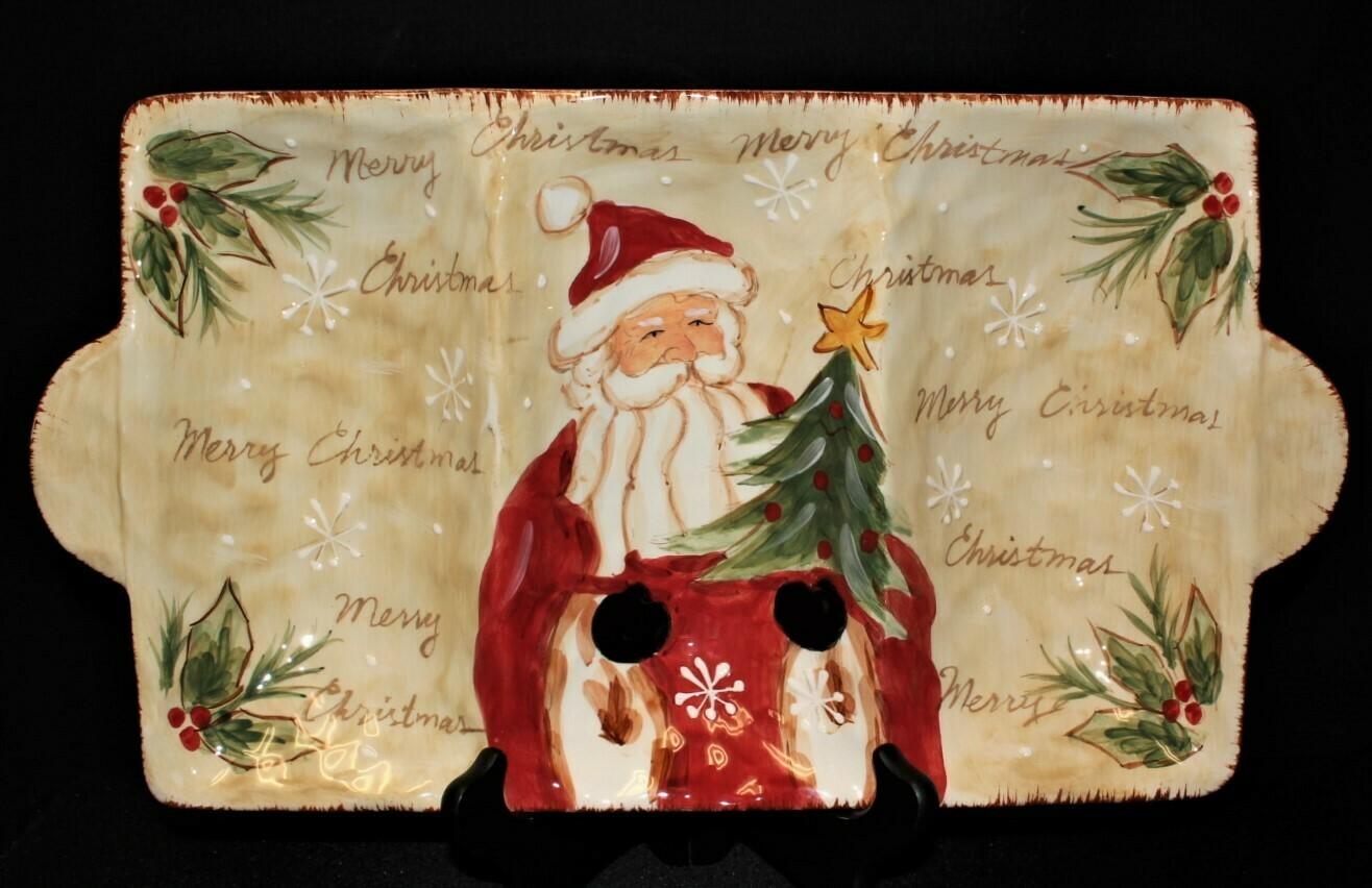 Maxcera Woodland Santa 3-Section Hand Painted Christmas Serving Platter Tray