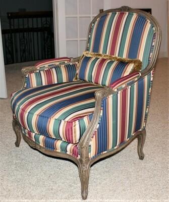 Henredon Carved Bergere Upholstered Oversized Living Room Lounge Chair