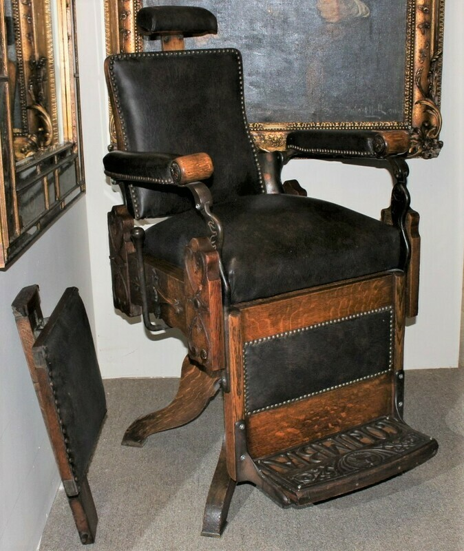 Antique Koken Koch's COLUMBIA Carved Tiger Oak Barber Shop Chair on Cabriole Legs