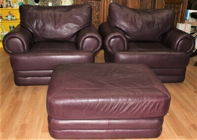 Pair of Custom Top Grain Leather Claret Red Oversized Club Chairs and Ottoman